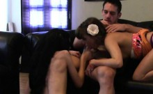 Teen Best Friends Giving Double Blowjob Together On Sofa