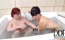 Lesbian Titty Play In The Tub