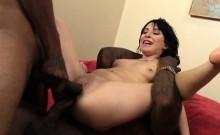 Skanky whore Sandra Luberc double penetrated by black dicks