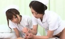 Teen horny Japanese nurses having a threesome at work