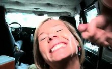 Pregnant blonde fucked and jizzed in sex bus